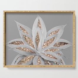 Gray Agave with Gold Glitter #1 #shiny #tropical #decor #art #society6 Serving Tray