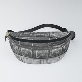 Antique leather-bound books, novels, poetry black and white photograph / vintage black and white photography Fanny Pack