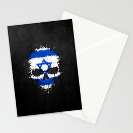 Flag of Israel on a Chaotic Splatter Skull Stationery Cards