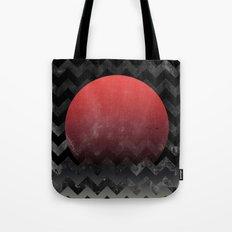 Red Sun in Geometric Waves Tote Bag