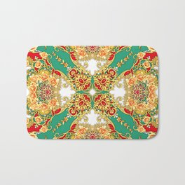 Square composition with orange roses,pearls and rubies Bath Mat