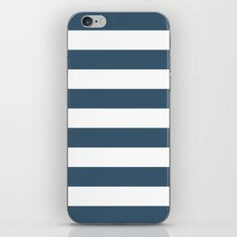 Dusky Blue Horizontal Stripes Pattern iPhone Skin