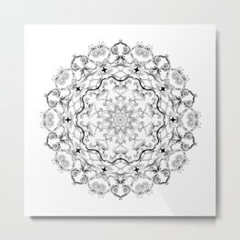 Mandala Project 214 | Black and White Lace on White Metal Print