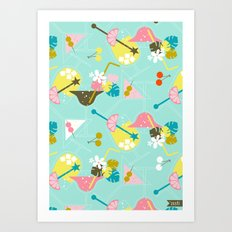 Pink Flamingo Cocktails Art Print