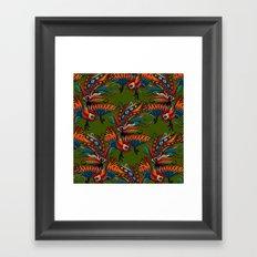 rooster ink green Framed Art Print