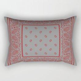 Classic Gray and Red Bandana Rectangular Pillow