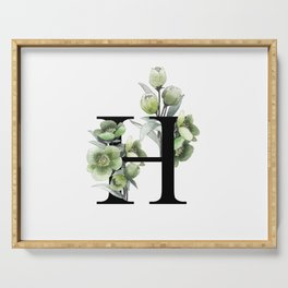 Letter 'H' Helleborus Flower Typography Serving Tray