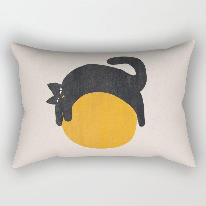 Cat with ball Rectangular Pillow