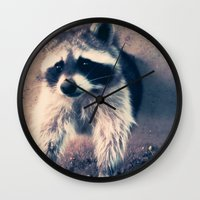 racoon Wall Clocks featuring racoon by oslacrimale