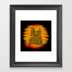 Zombie with Dragon on the Cemetery black and yellow Framed Art Print