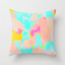 Carmela - Pink, green, blue abstract art Throw Pillow