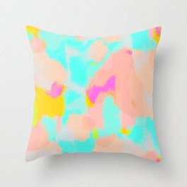Carmela - Pink, green, blue abstract art Throw Pillow