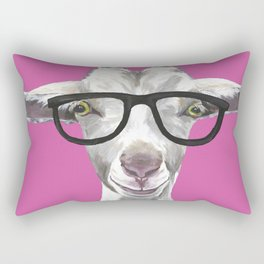 Goat with Glasses, Farm Animal Art Rectangular Pillow