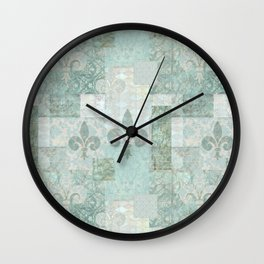 teal baroque vintage patchtwork Wall Clock