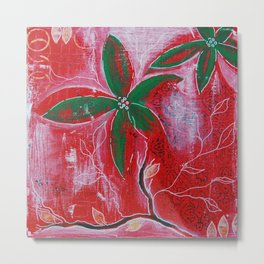 Red and green foliage fine art painting 3 of 3 Metal Print