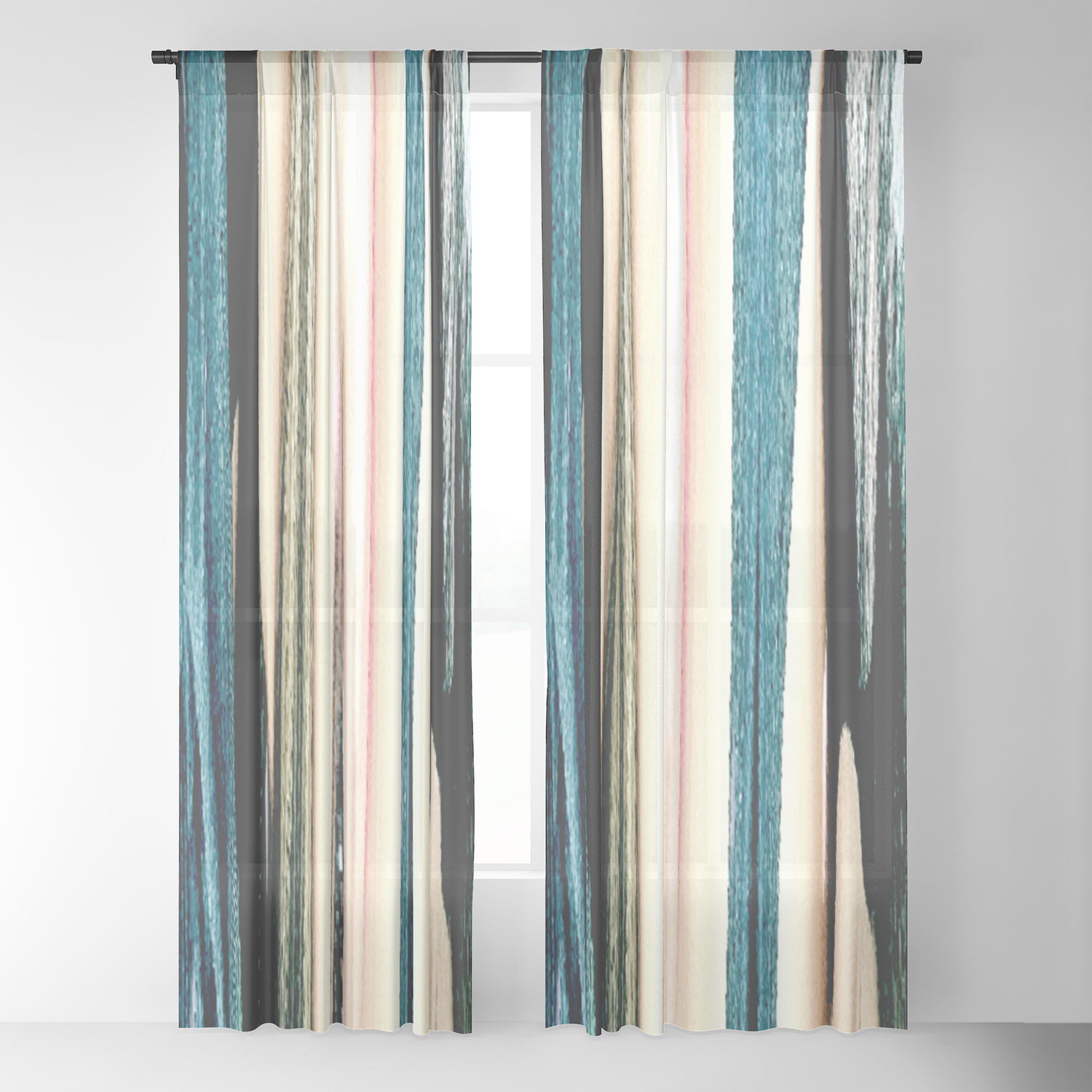 Blue Turquoise Black Grey Beige Pink Abstract Striped Pattern Sheer Curtain By Katerina Ez