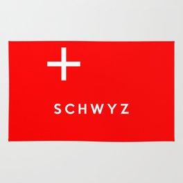 Schwyz region switzerland country flag name text swiss Rug