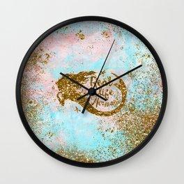 Faux Gold Glitter- REAL LIFE MERMAID On Sea Foam Wall Clock