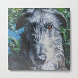 Scottish Deerhound dog art portrait from an original painting by L.A.Shepard Metal Print