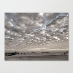 Caught in between a Pier and Lifeguard Tower Canvas Print