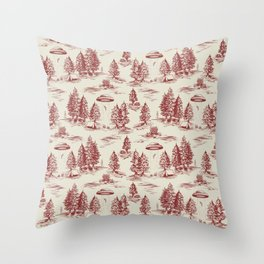 Red Alien Abduction Toile De Jouy Pattern Throw Pillow