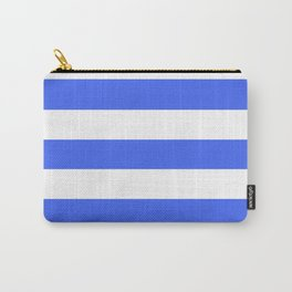 Ultramarine blue - solid color - white stripes pattern Carry-All Pouch