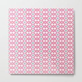 Geometric Pattern - Diamonds and Dots - Pink & Green Metal Print