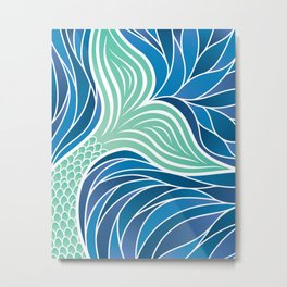 Green Mermaid's Tail Metal Print