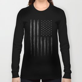Grey Graunge American flag Long Sleeve T-shirt
