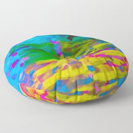 psychedelic graffiti painting abstract in blue yellow green pink Floor Pillow