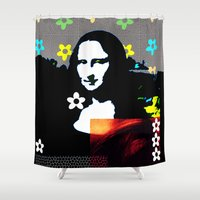 mona lisa Shower Curtains featuring Mona Lisa by Big AL