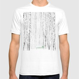 Green bench in white winter forest T-shirt
