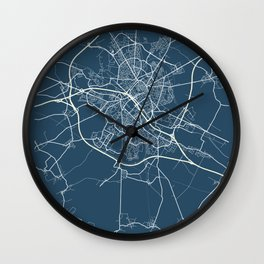 Reims Blueprint Street Map, Reims Colour Map Prints Wall Clock