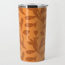 Block Print Marigold Floral in Orange Travel Mug