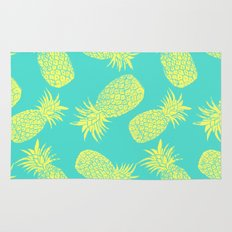 Pineapple Pattern - Turquoise & Lemon Rug