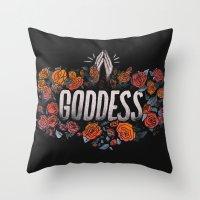 goddess Throw Pillows featuring Goddess by Jillian Adel