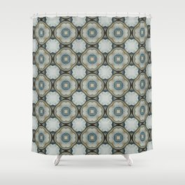 green blue floral scroll pattern Shower Curtain