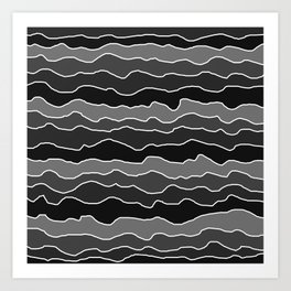 Four Shades of Black with White Squiggly Lines Art Print