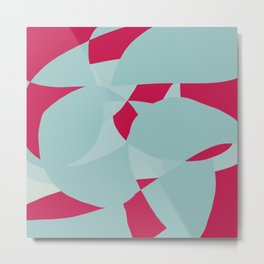 Dusty Pale Blue and Vibrant Magenta Abstract Graphic Metal Print