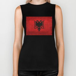 "National flag of Albania - in ""Super Grunge"" Biker Tank"
