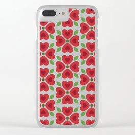 Christmas Heart Flowers Clear iPhone Case