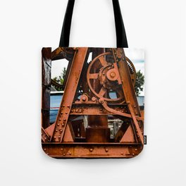 The Old Rusty Ship Crane Tote Bag