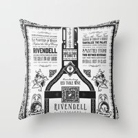 lotr Throw Pillows featuring Lord of the Rings Rivendell Vineyards Vintage Ad by Barrett Biggers