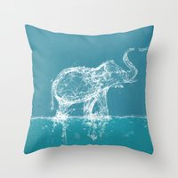 yetiland Throw Pillows featuring Elephant by Paula Belle Flores