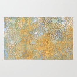 gold arabesque vintage geometric pattern Rug