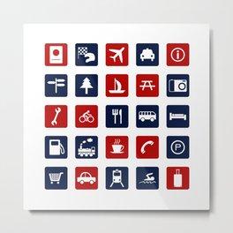 Travel Icons in RWB Metal Print