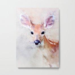 Deer Fawn Watercolour Animal Painting Artsy Watercolor Nursery Pink Metal Print