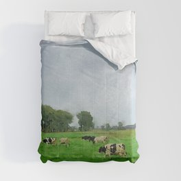 Pasture cows watercolor painting Comforters