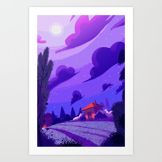 Campagne étoilée / Studed Countryside Art Print