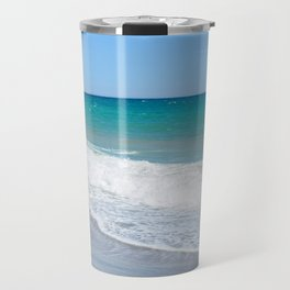 Sandy beach and Mediterranean sea Travel Mug